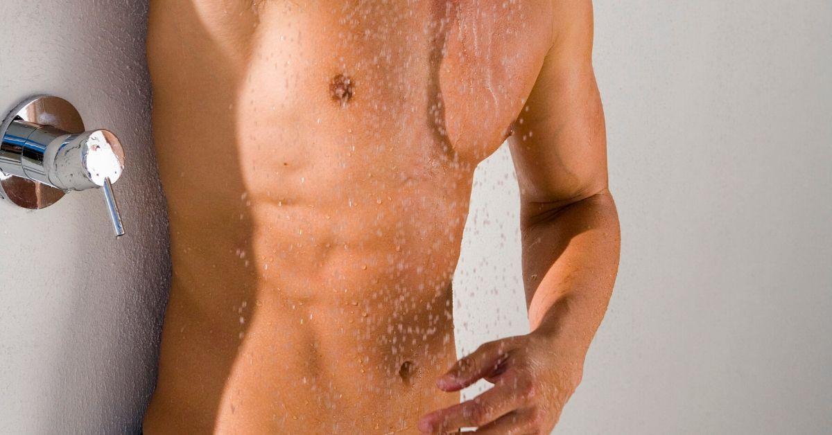 gay man in shower