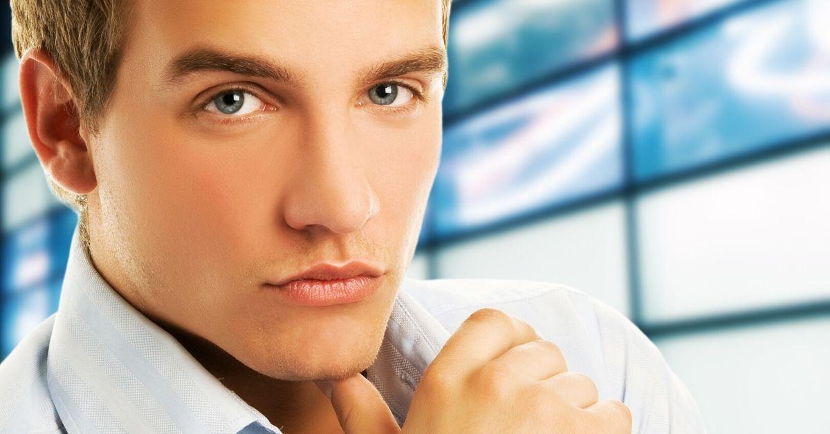 gay man with blue eyes