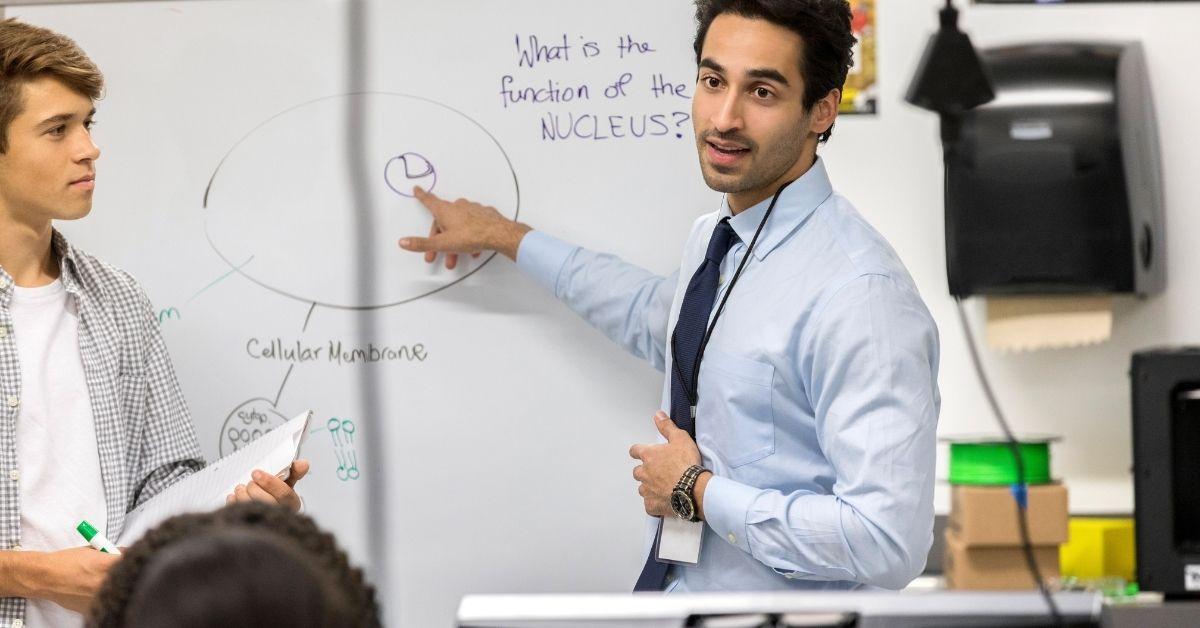 Shy Teacher Tutors Three Bottoms